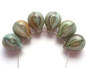 Grey striped briolettes, Czech glass large teardrops, mixed color - 10x14mm - 6Pc - 0227