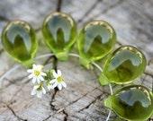 Olivine Teardrops, Olive Green czech glass drops, large Briolettes, pressed raindrop - 10x14mm - 6Pc - 0238