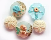 Lampwork beads - beach Blue and beige handmade set, ocean, sea with shells, sand dollar and starfish - etched lentils by MayaHoney, SRA