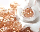 Peach pink bicone, Valentines day, 6mm czech glass beads with golden luster- 30Pc - 276