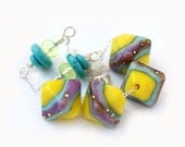 Bright necklace with lemon yellow artisan lampwork beads on sterling silver chain by MayaHoney, summer jewelry