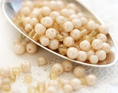 Cream beige czech glass beads mix - small spacers, druk, pastel - approx.100Pc - 0304