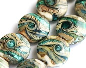 Lampwork beads, organic glass beads set in beige and teal - SRA by MayaHoney