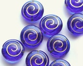Cobalt blue Czech glass beads - large washed shells with golden spiral, nautilus - 13mm - 6Pc - 0345