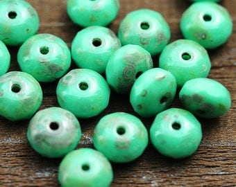 Czech beads Turquoise Green Picasso finish, glass spacers, rustic - 4x7mm - 25Pc - 1598