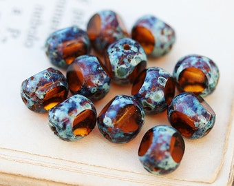 Picasso beads, Topaz czech glass beads, fire polished, faceted, brown beads, round cut - 8mm - 20Pc - 2833