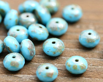 Picasso czech beads, Turquoise Blue glass beads spacers, donut, gemstone cut - 4x7mm - 25pc - 1167