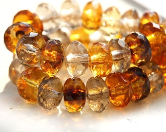 Czech glass beads, Amber Topaz beads mix, yellow spacers, rondelle, gemstone cut, rondels - 4x7mm - 25 Pc - 0208