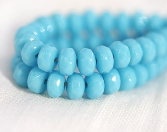 2x3mm Sky blue czech glass beads, gemstone cut tiny spacers, blue rondelle beads - 2x3mm - 50 Pc - 0146