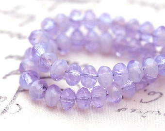3x5mm Rondel Czech beads, Lilac Lavender glass rondelle spacers, gemstone cut - 35Pc - 0608
