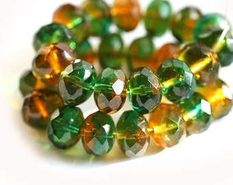 Czech glass beads - Green, amber topaz large rondel spacers, woodland colors, gemstone cut - 7x11mm - 10Pc - 0221