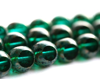 Dark teal beads, Picasso Czech Glass beads, Teal Green, fire polished, triangle, round cut - 8mm - 20Pc - 2840