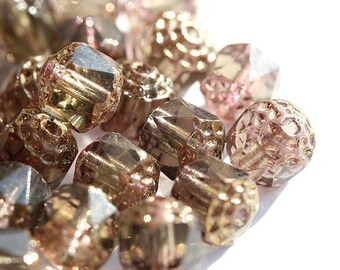 Cathedral Brown rose RARE color Czech Glass beads, round fire polished 8mm ball beads - 15Pc - 2377