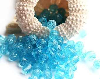 Aqua blue Cathedral Czech Glass beads, round, sea color - 6mm - 20Pc - 0155