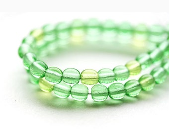 4mm Spring green czech glass beads round spacers, druk - 100-110Pc - 0172