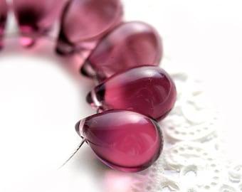 Medium Purple czech glass beads, 10x14 teardrops, large Briolettes, purple drops - 10x14mm - 6Pc - 0184