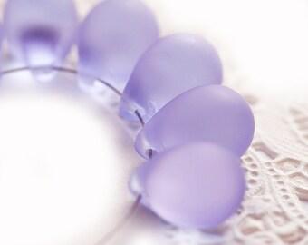 Lilac drops, Matte finish, Lavender Purple czech glass teardrops, Briolettes, light Amethyst - 10x14mm - 6Pc - 1952
