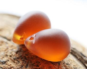 Frozen Brown Topaz czech glass beads, Matte Topaz Teardrops, Briolettes, large drops - 10x14mm - 6Pc - 0241