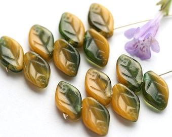 Yellow Green Czech glass leaves, Dark Olie Green, pressed leaf beads - 12x7mm - 25Pc - 0286