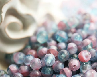 Pink, blue, violet beads mix, czech glass beads - round spacers, druk, small, pastel - 4mm - approx.80-85Pc - 0797