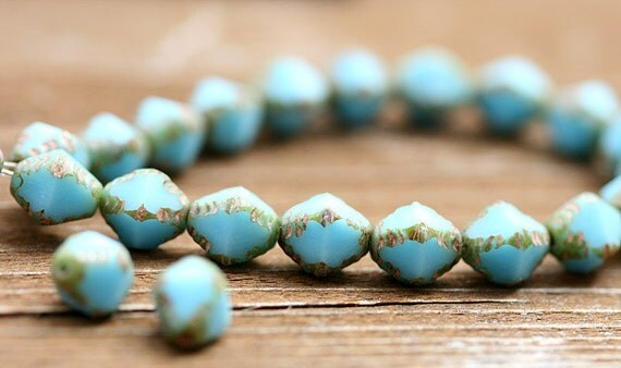 Czech Glass Picasso beads Turquoise Blue Rustic Olive Green Bicone Spacers - 8x6mm - 25Pc - 056