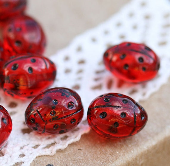 Czech Glass Beads - Ladybugs - 9x7mm - berry red transparent black dots small - 12PC