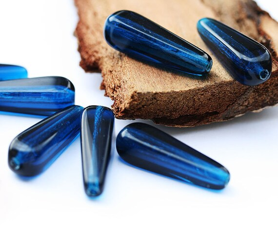 Royal Blue czech glass beads - long squared teardrops 27x10mm - 6Pc - 0160