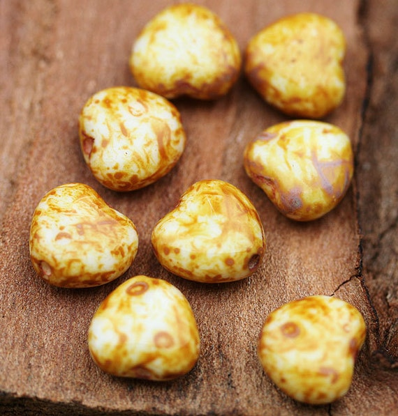 Picasso beads, hearts czech glass beads - beige rust, tan brown - 8mm - 12Pc