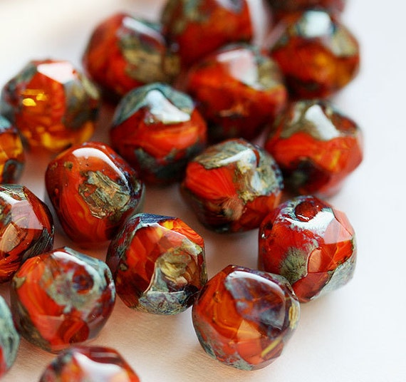 Picasso czech glass beads - red orange brown - autumn colors - round cut baroque balls - 8mm - 20PC - 035s
