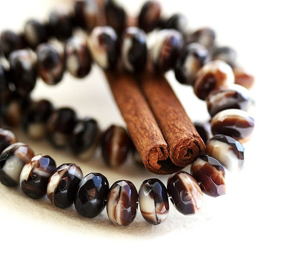 Czech glass beads, spacers in brown, beige, mix  - 4x7mm - 25Pc - 0212