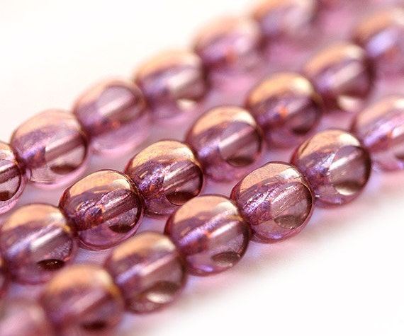 Lavender pink Czech Glass beads - spacers round cut - 6mm - 30PC - B004