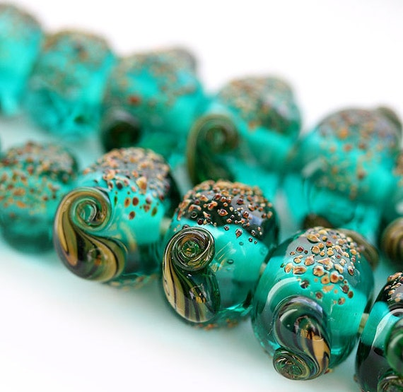 Lampwork beads Organic teal green handmade glass beads set, ocean color - SRA - beach, shells