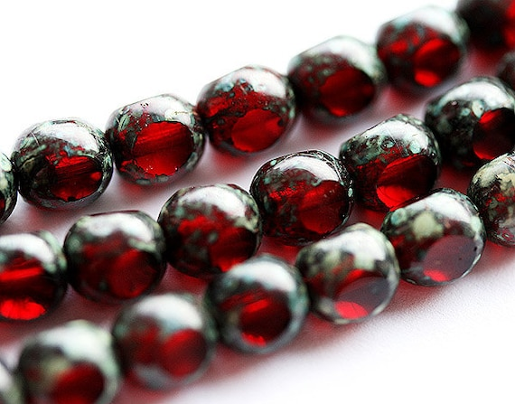 Picasso Red Czech Glass beads - dark transparent red spacers round cut - 6mm - 30PC - 045