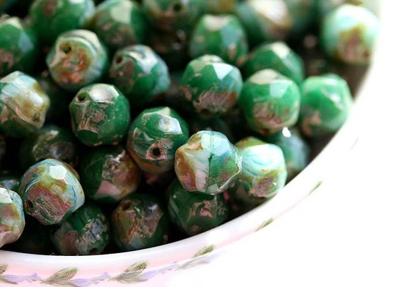 Wholesale Blue Green Picasso czech glass beads - rustic ocean - round cut baroque - 8mm - 40PC - 081L