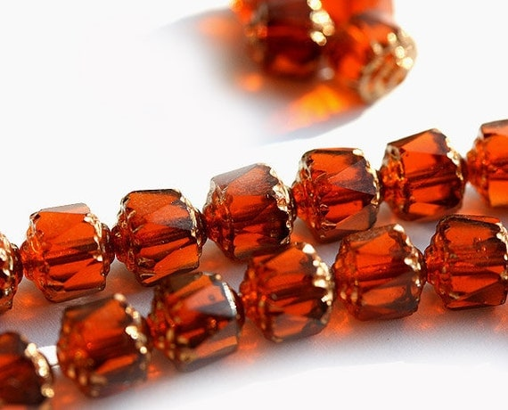 Czech glass Cathedral beads Golden Amber topaz, brown - 8mm - 12Pc - 0096
