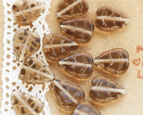 Light brown Czech glass leaves - sepia, pressed leaf beads - 12x10mm - 12Pc - 0111