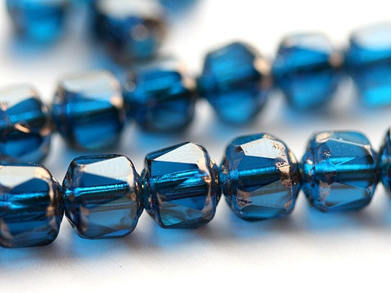 Cathedral czech beads Dark blue Glass beads with copper ends, indicolite - 6mm - 20Pc - 0722