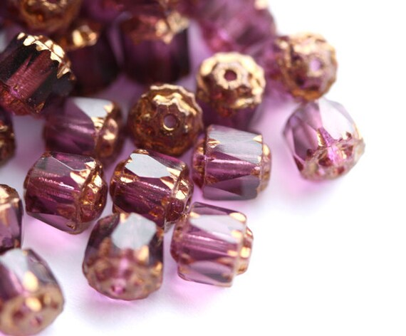 Violet purple cathedral czech glass beads with golden ends, round, fire polished - 6mm - 20Pc - 0763