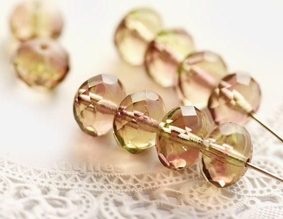 Beige, light purple and green czech glass beads - large spacers, pastel, vintage style - 7x11mm - 10Pc - 0220