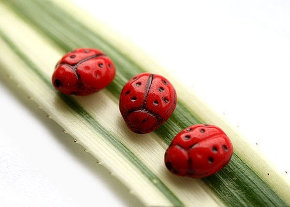 Red ladybugs Czech Glass beads - opaque, black dots, spring - 9x7mm -15Pc - 0170