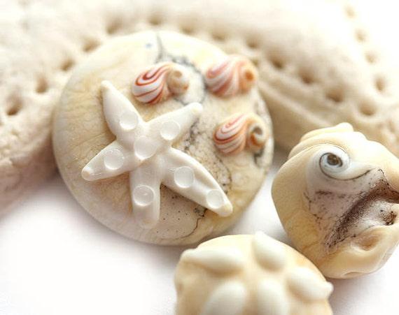 Creamy beige Handmade glass lampwork beads - ivory beach set with shells, starfish, sand dollar - SRA