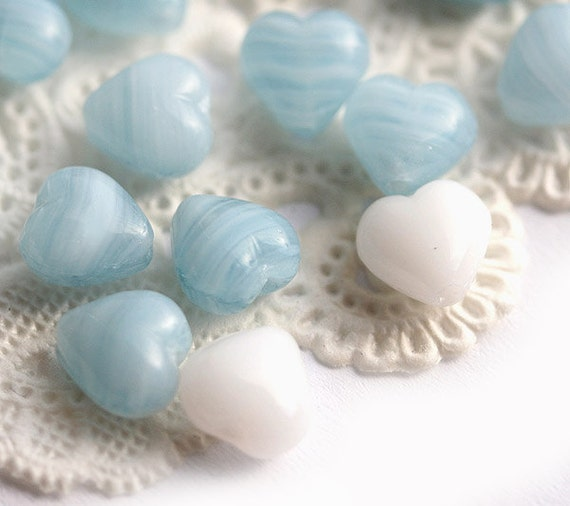 Czech Glass beads mix Hearts in blue and white, Valentines day - 6mm - 30pc - 0181