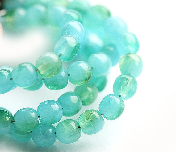 4mm beads mix in blue, mint, green - czech glass beads round spacers, druk, small - approx.100Pc - 0292