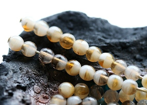 Beige brown mix czech glass beads - round spacers, druk, small, pastel - 4mm - approx.100Pc - 318