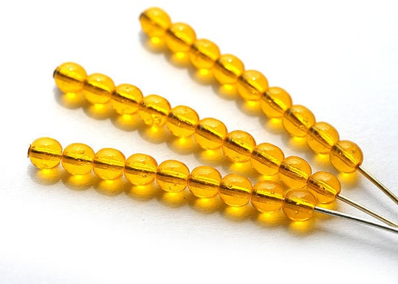 Ochre yellow round spacer beads czech glass - 4mm, small, bright - approx.100Pc - 0330