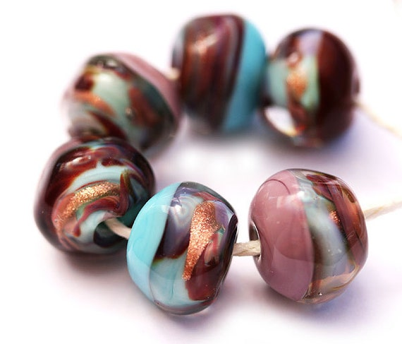 Glass Lampwork beads, organic set in brown, blue, violet - SRA, by MayaHoney