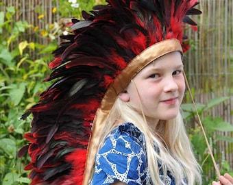 Feather Headdress...  full length headdress.... black/red