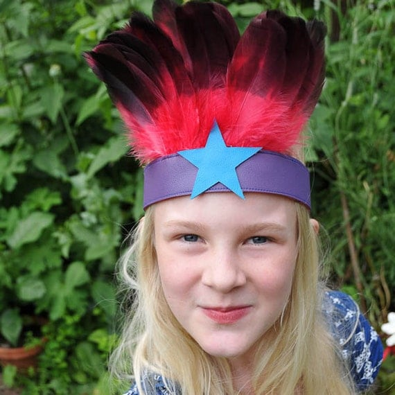 feather headband (pink/purple)