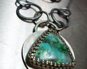 Sterling Silver Triangle Necklace -- Cougar Mountain Chrysocolla -- Aqua Blue Green Teal Stone -- One Of A Kind
