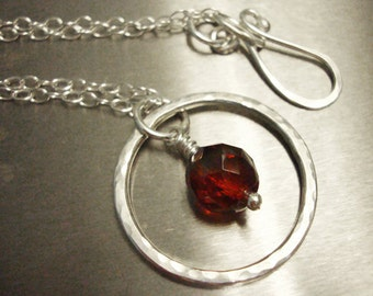Sterling Silver Eternity Necklace - Ruby Red Czech Glass - Handmade Jewelry
